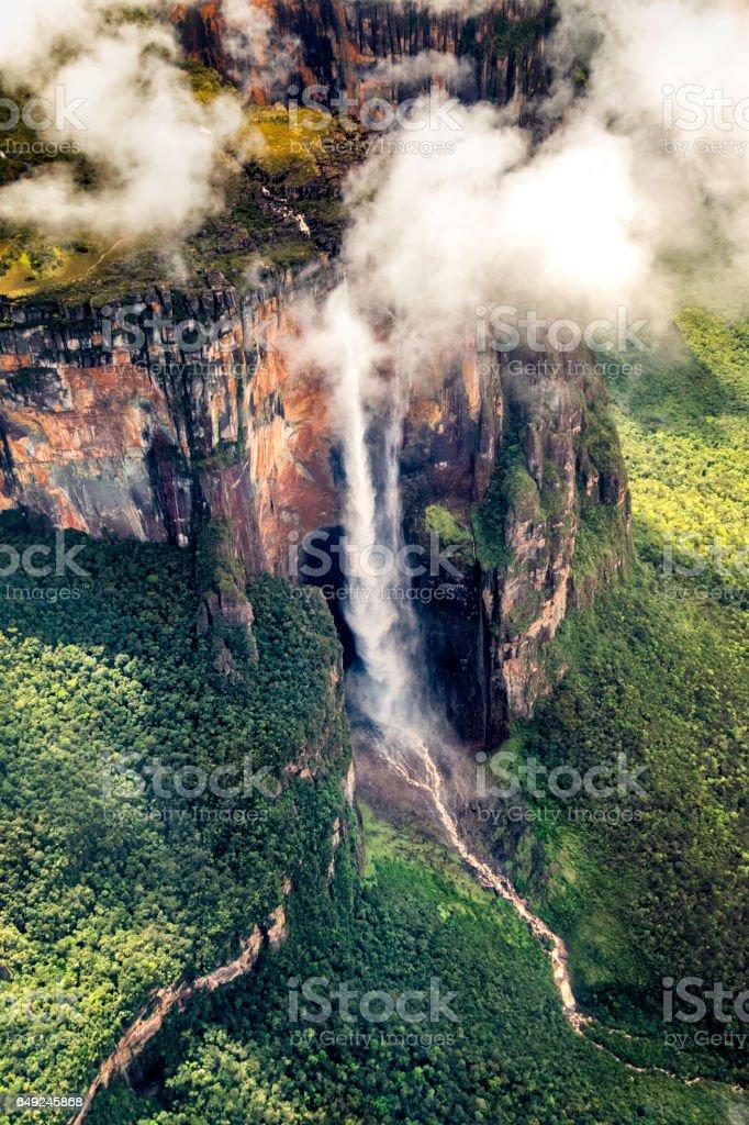 Angel falls aerial view at Auyan Tepui. Canaima National Park stock photo