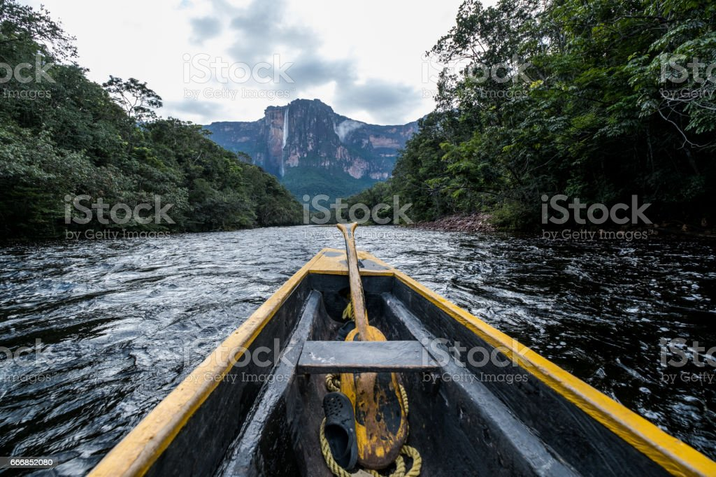 Angel Falls as seen from the River stock photo