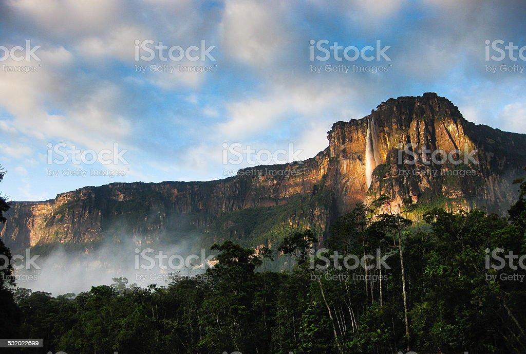 Angel Falls at Sunrise stock photo
