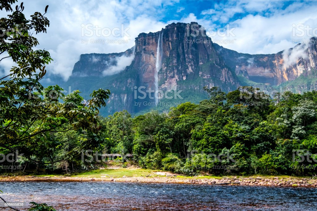 Angel Falls from the river bank stock photo