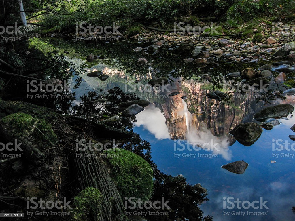 Angel Falls Reflected in Water stock photo