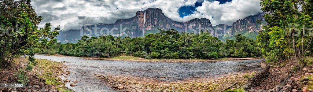 Angel falls view from Churun river camp. Canaima National Park stock photo