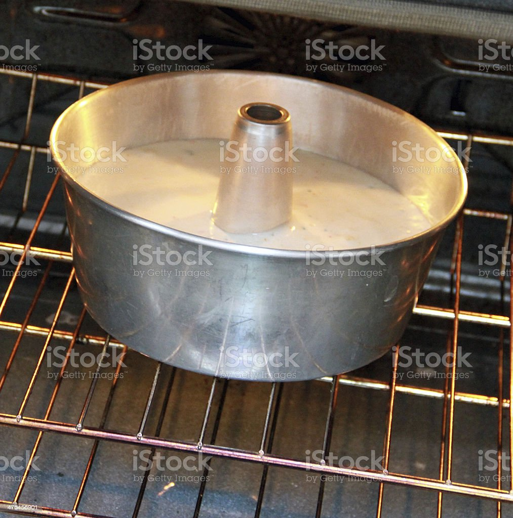 Angel Food Cake Batter Visiting the Oven stock photo