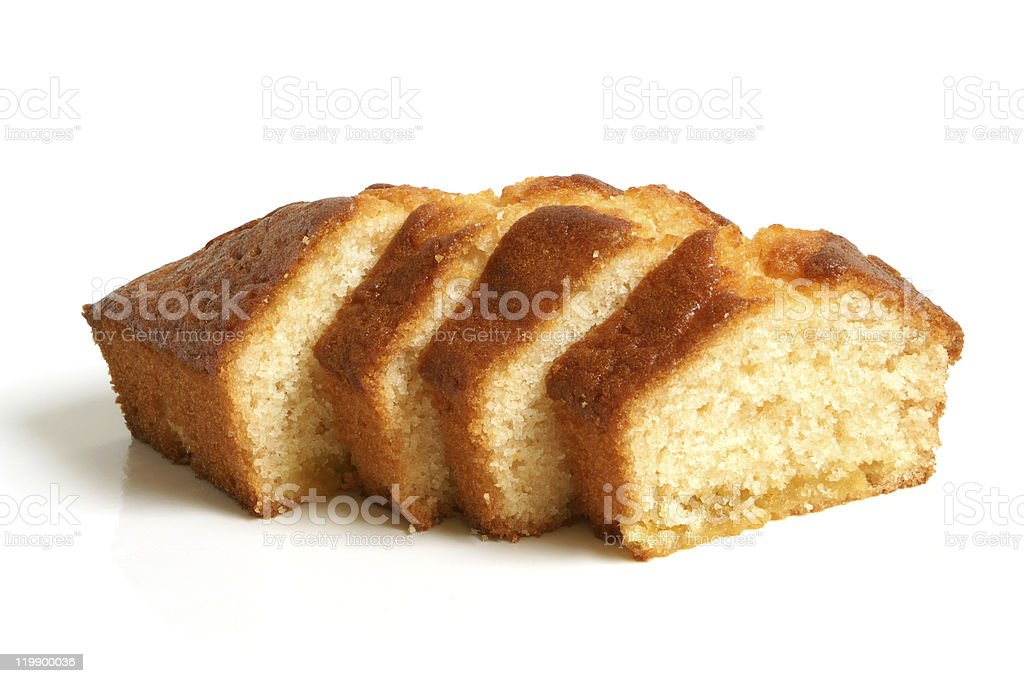 Angel food cake sliced and displayed on white background stock photo