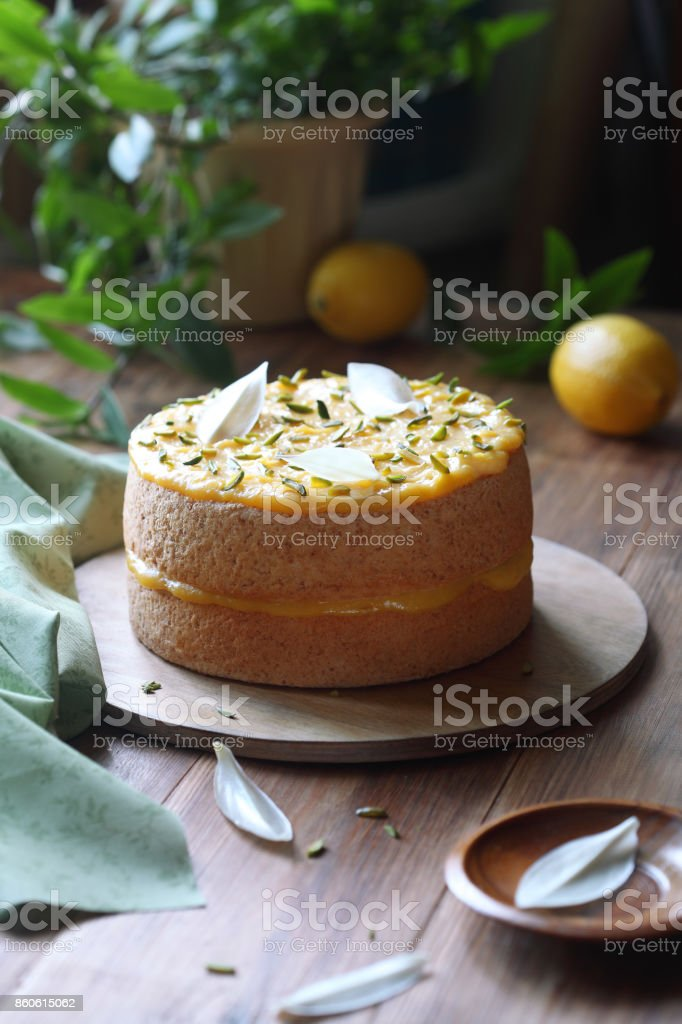 Angel Food Cake with Lemon Curd stock photo