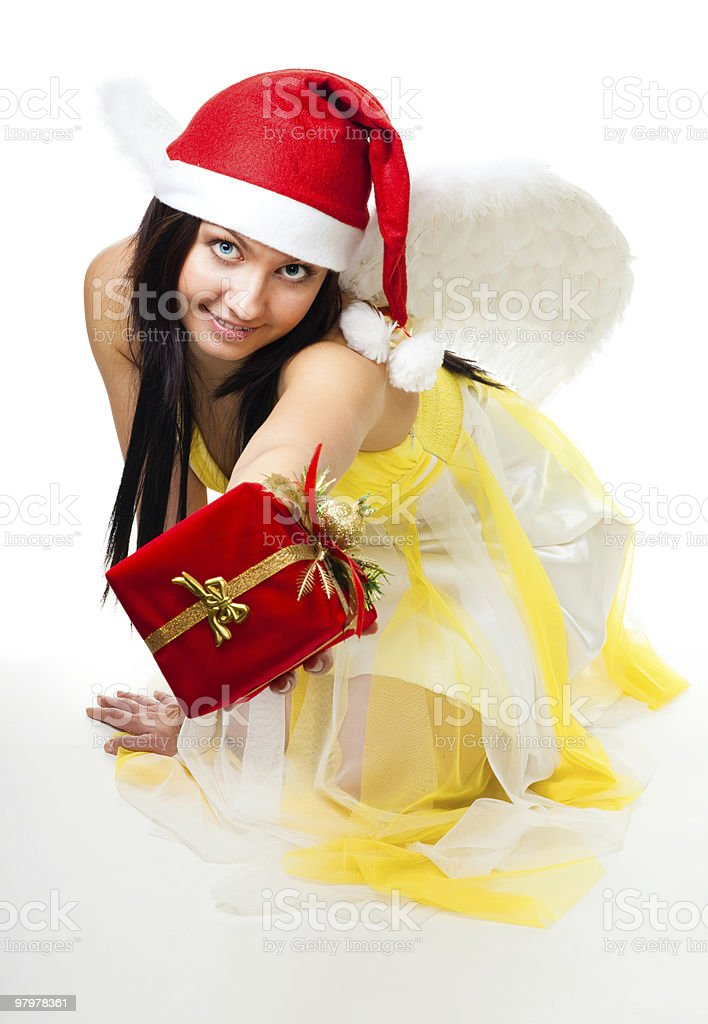 Angel give you a present royalty-free stock photo