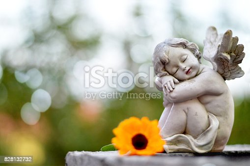 Angel guardian sleeping on the grave