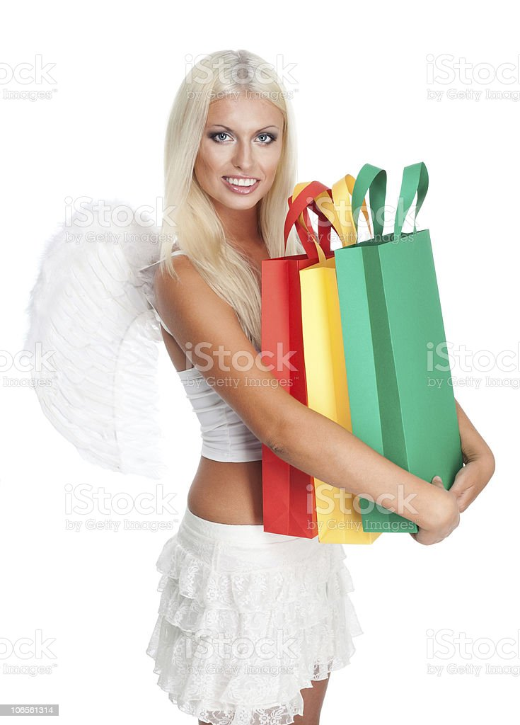 Angel hold many shopping bags royalty-free stock photo
