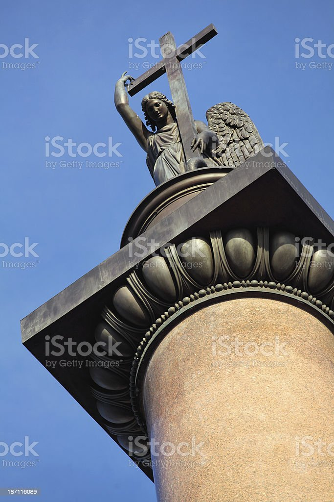 Angel holding cross on the top of Alexander Column royalty-free stock photo