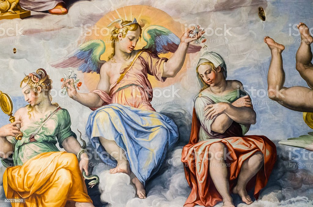 Angel in Frescoes in the dome of Brunelleschi stock photo