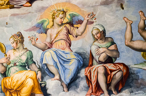 angel in frescoes in the dome of brunelleschi - renaissance stock pictures, royalty-free photos & images