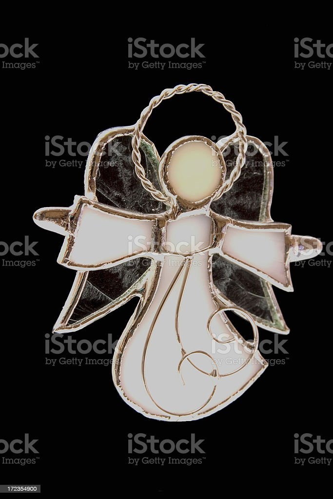 Angel in Leaded Stained Glass w- clipping path royalty-free stock photo