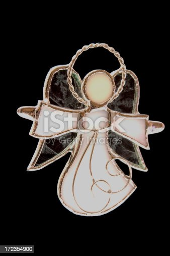 Angel In Leaded Stained Glass W Clipping Path Stock Photo & More Pictures of Angel