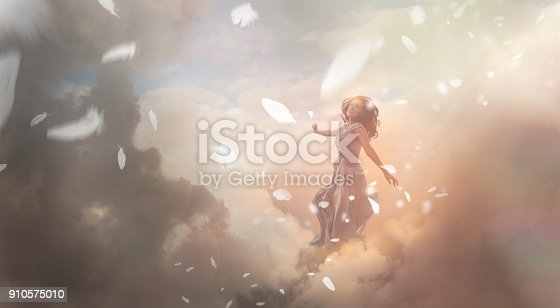Angel in sky with falling feathers