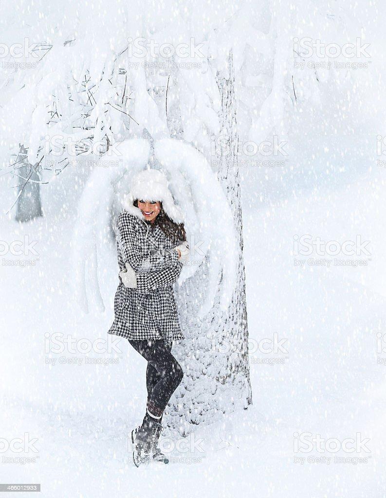Angel In Snowy Heaven stock photo