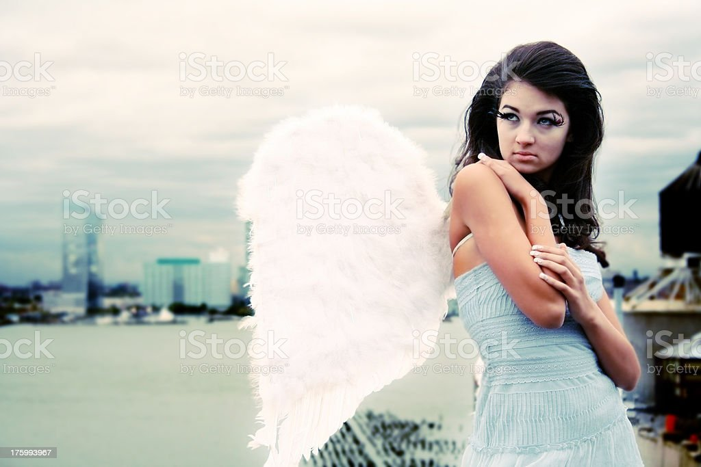 Angel in the city stock photo