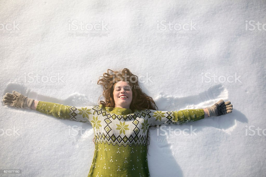 Angel in the snow stock photo