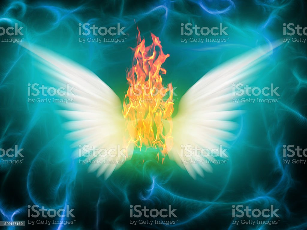 Angel of fire stock photo