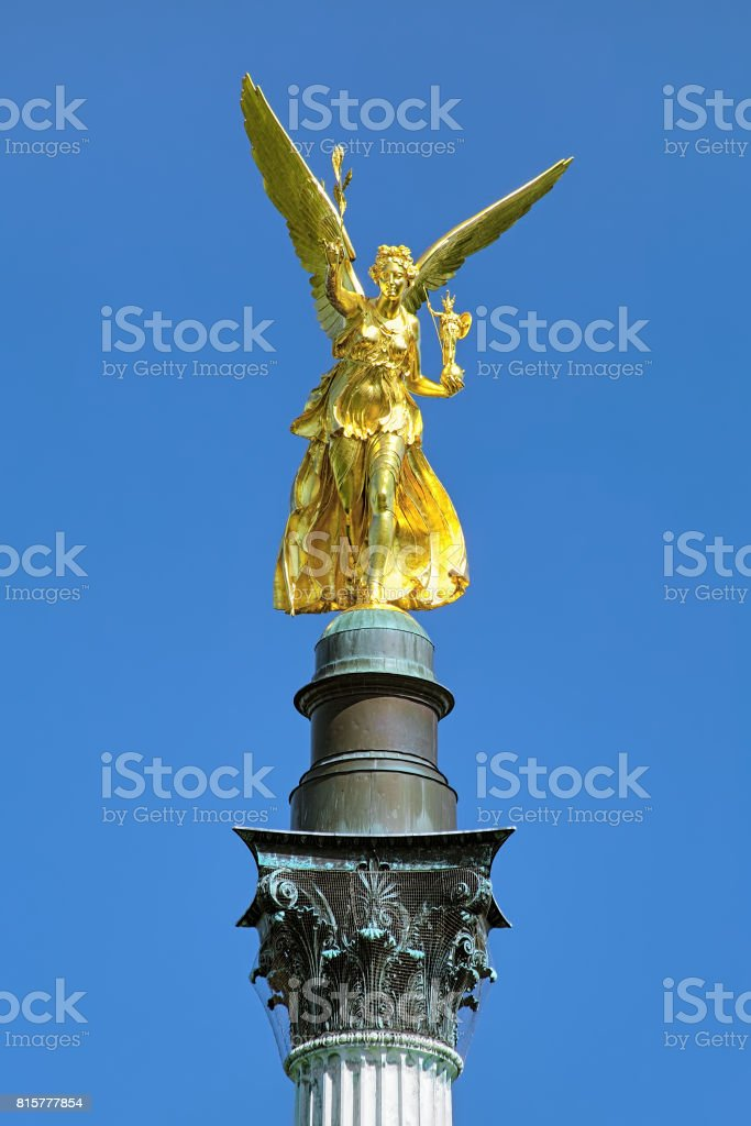 Angel of Peace on the top of Friedensengel monument in Munich, Germany stock photo