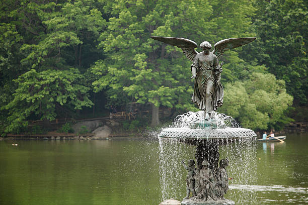 Angel of the Waters and Lake - Central Park stock photo