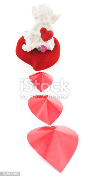 970844120 istock photo Angel on a red heart. 508942980