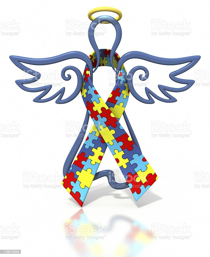 Angel outline autism ribbon stock photo