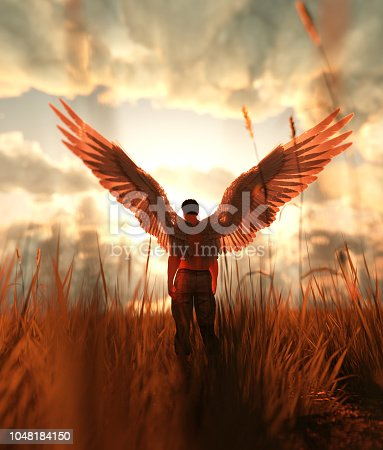 3d illustration of an Angel in grass field
