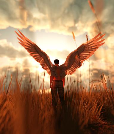 3d illustration of an Angel in grass field