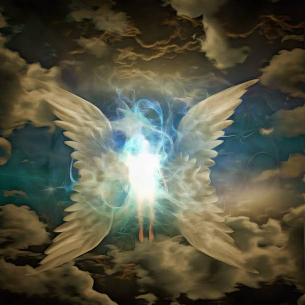 Angel Obscured human figure with large wings angelic stock pictures, royalty-free photos & images