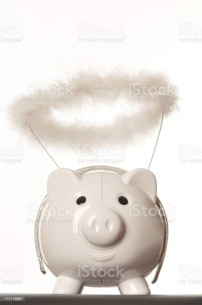 Angel piggy bank stock photo