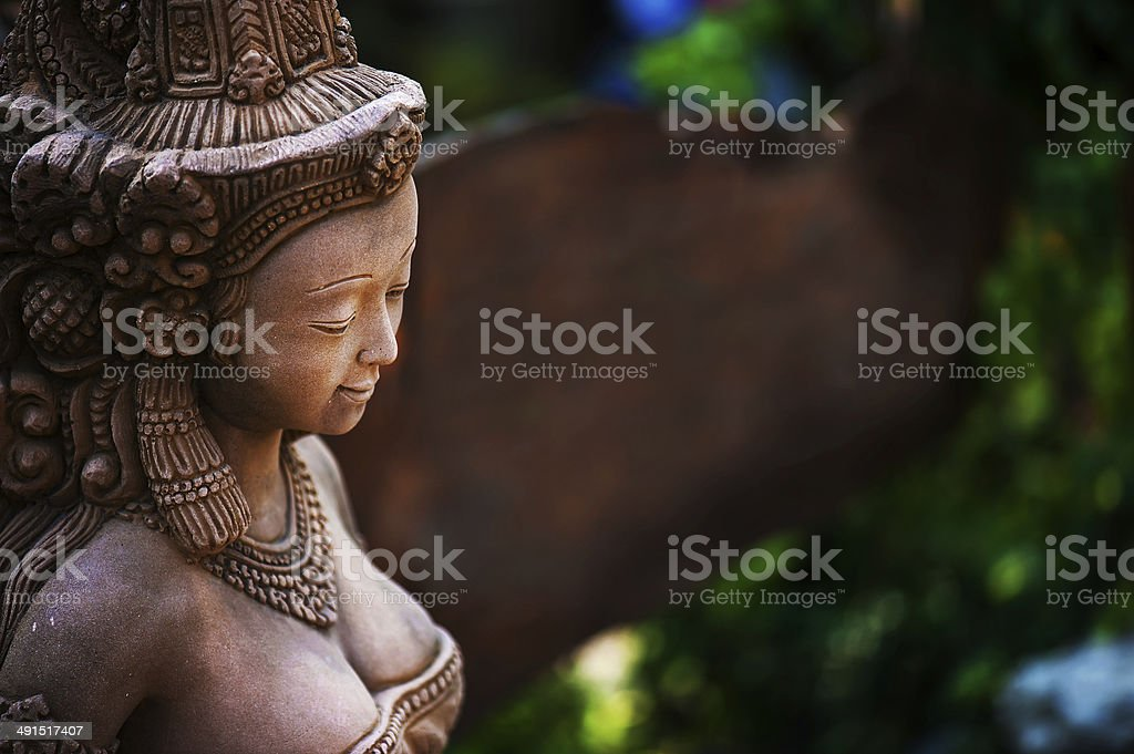 Angel Resting Statue with moss . royalty-free stock photo