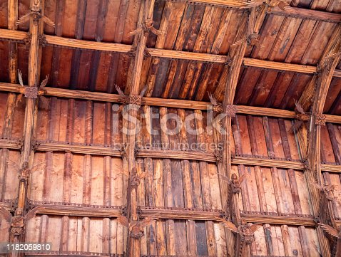 Part of the spectacular medieval hammer-beam angel roof inside the parish church of St Peter & St Paul in Swaffham, Norfolk, Eastern England. The roof contains 192 angels and dates from the 14th century - amazingly, they escaped destruction at the Reformation.