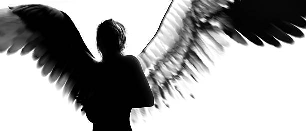 angel silhouette - angel stock photos and pictures