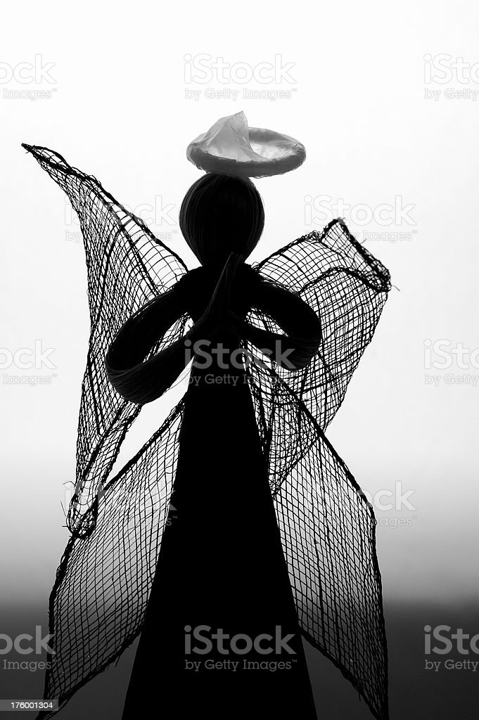 Angel Silhouette with Condom Halo royalty-free stock photo