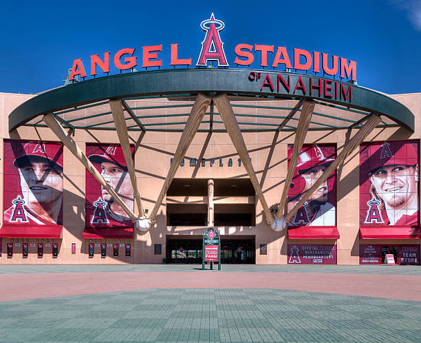 Angel Stadium of Anaheim Entrance Anaheim, United States - October 10, 2015: Angel Stadium of Anaheim entrance. Angel Stadium is the home ballpark to Major League Baseball's Los Angeles Angels. major league baseball stock pictures, royalty-free photos & images