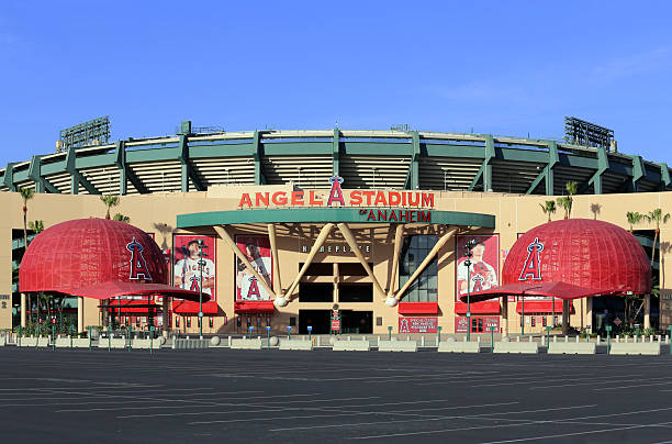 Angel Stadium of Anaheim Anaheim, CA, USA – March 16, 2014: The Angel Stadium of Anaheim located in Anaheim. Angel Stadium of Anaheim is a ballpark stadium and home of the Los Angeles Angels of Anaheim of Major League Baseball. major league baseball stock pictures, royalty-free photos & images