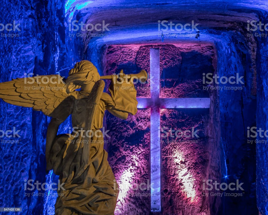 Angel statue and Cross in Salt Cathedral of Zipaquira, Colombia stock photo