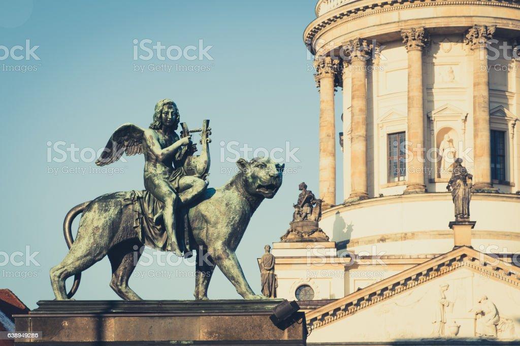 Angel statue at Konzerthaus Berlin - Gendarmenmarkt stock photo