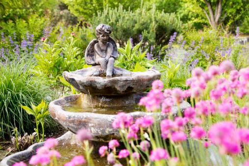 Angel Statue Fountain in Garden