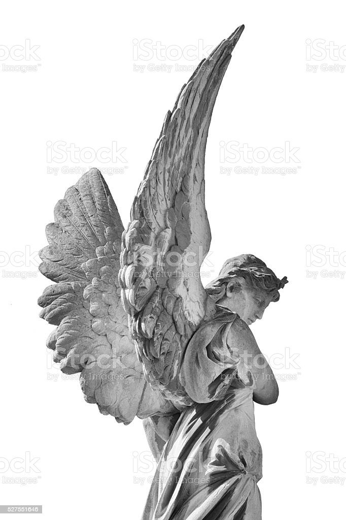 Angel statue in Lychakiv Cemetery, Lviv, Ukraine stock photo