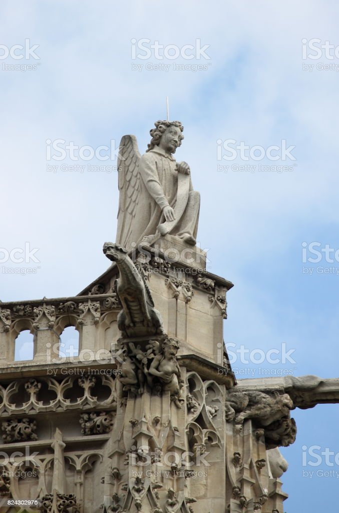 Angel statue in Saint-Jacques Tower stock photo