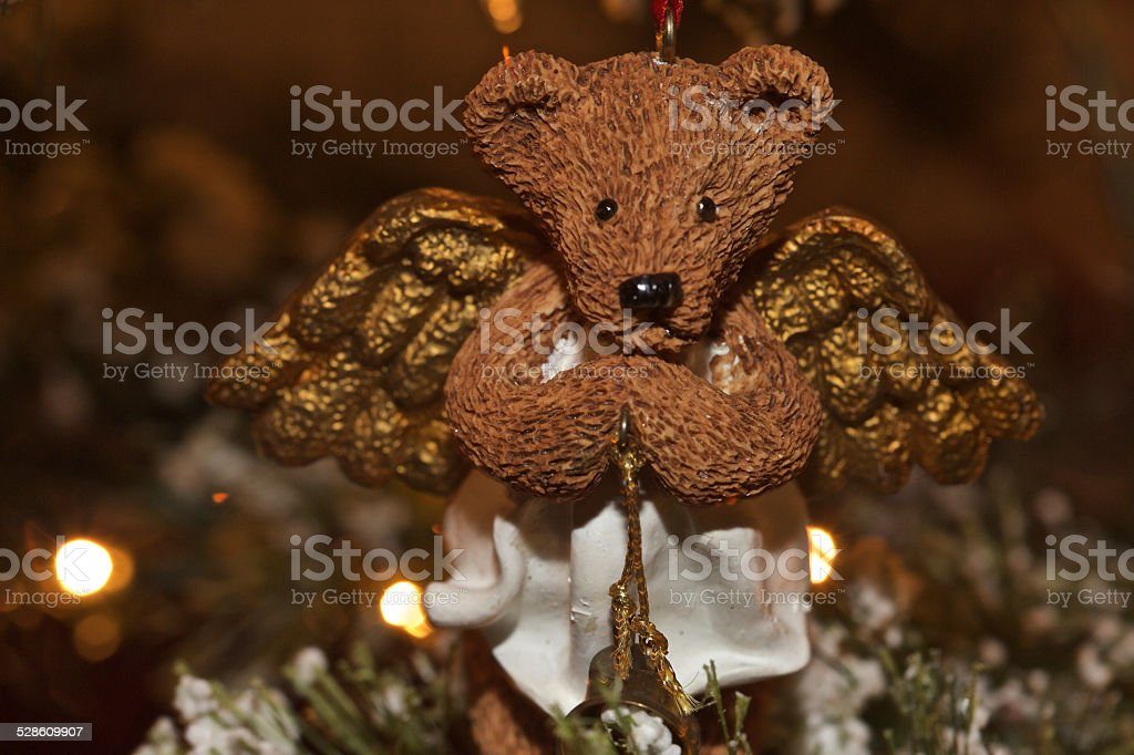 Angel Teddy Bear with Bell stock photo