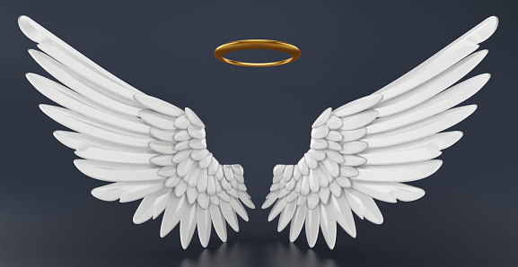Angel wings and golden halo isolated on black.