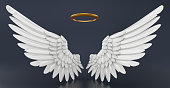 istock Angel wings and golden halo isolated on black 1035992244