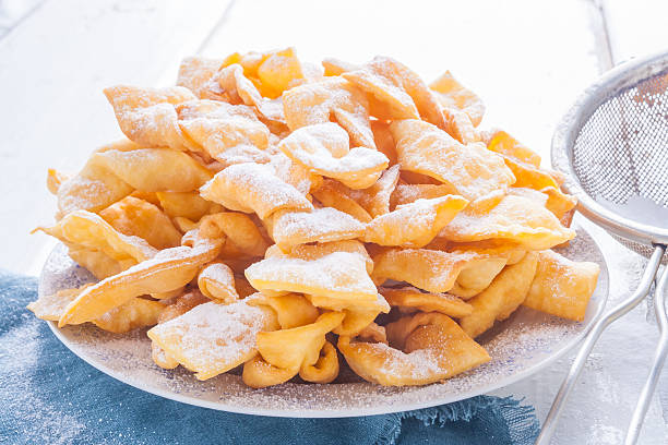 Angel wings cakes. faworki stock photo