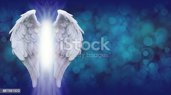 istock Angel Wings on Blue Bokeh Banner 687561520