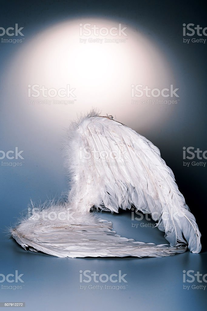 angel wings on white background with glow stock photo
