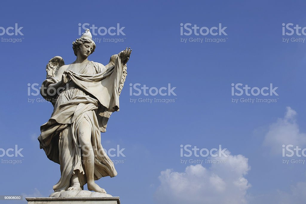 Angel with a seagull on the head royalty-free stock photo