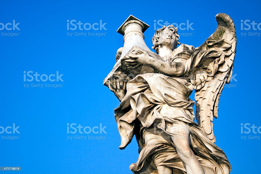 Angel with Column, Castel Sant Angelo, Rome, Italy stock photo