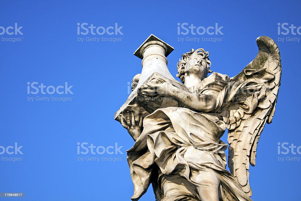 Angel with Column in Ponte Sant Angelo, Rome, Italy royalty-free stock photo